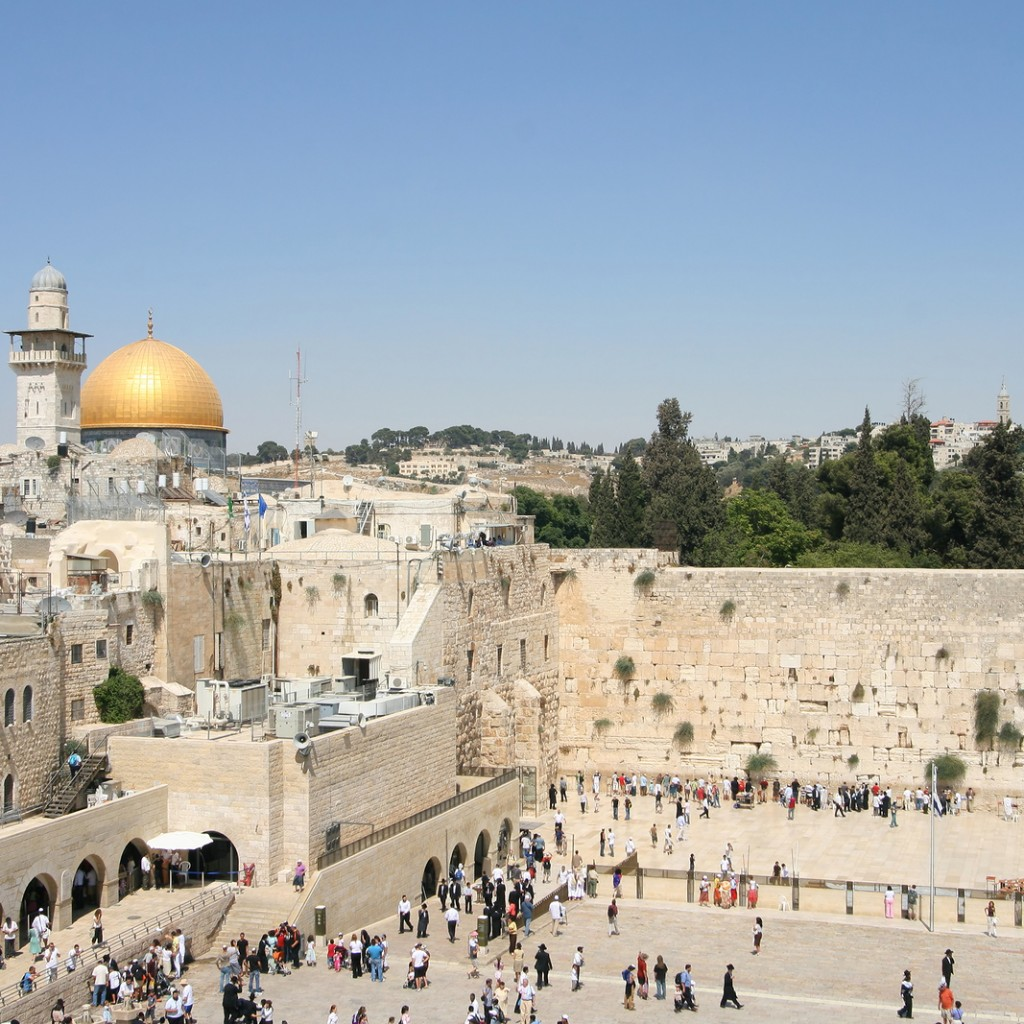 View of the Temple Mount in Jerusalem, including the Western Wal