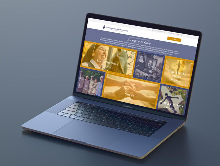 A Legacy of care homepage design show on a laptop screen