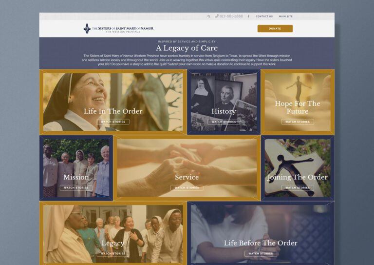 A Legacy of care homepage design