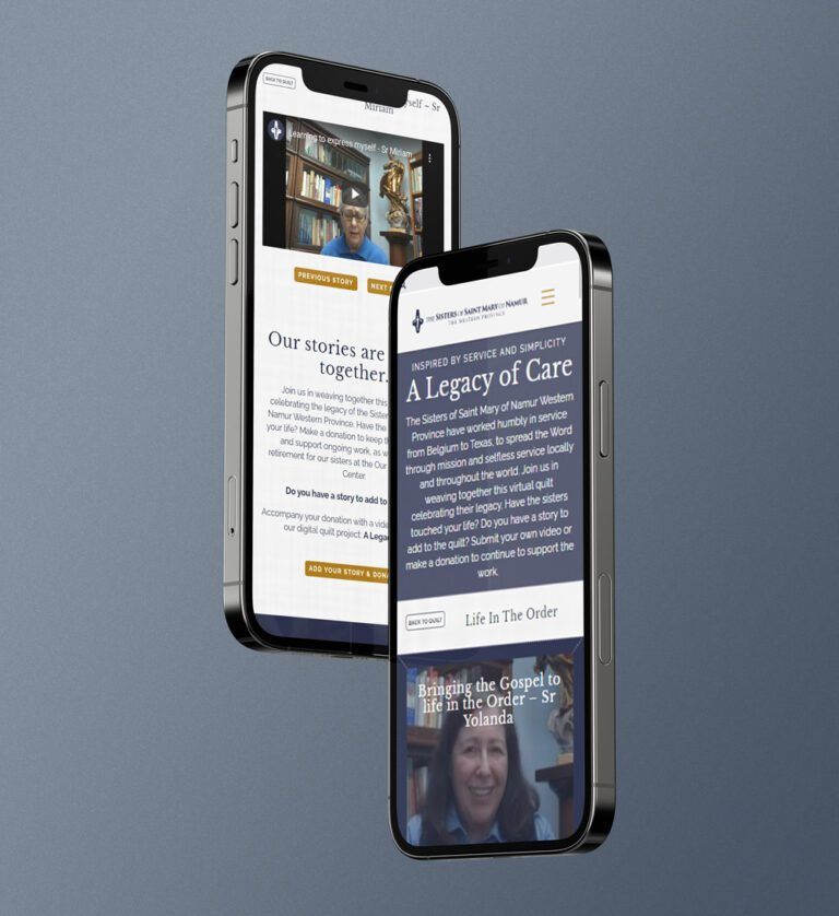 A Legacy of care website design shown on a phone screen