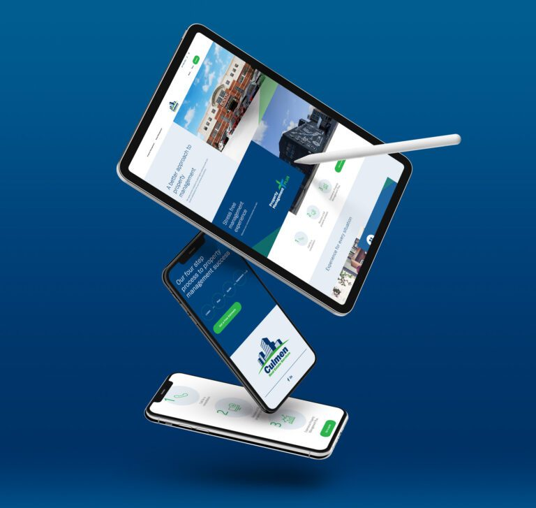 Culmen Services website design shown on the screens of various mobile devices