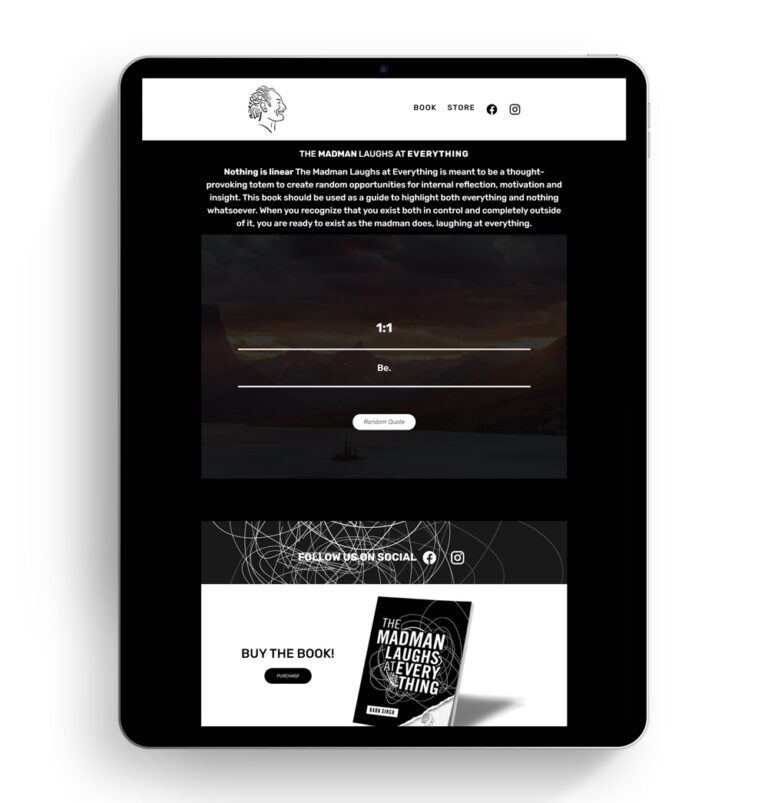 The Madman Laughs homepage design shown on an iPad screen