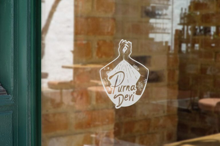 Perna devi logo shown as a frosted window cling