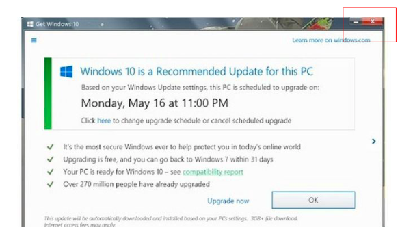 a screenshot of the Windows OS popup with the deceptive close icon
