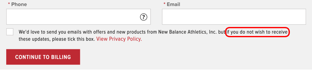 A screenshot of a confirmation box with confusing wording to trick users into signing up for the newsletter.
